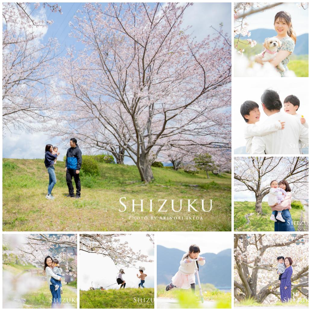 桜をバックにした家族写真