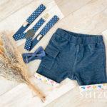 スマッシュケーキ用途のベビー衣装(紺のパンツ&青のサスペンダー)男の子用